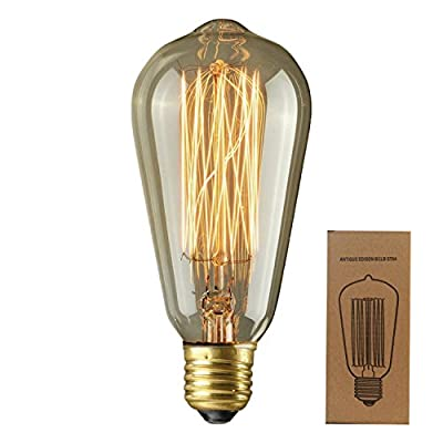 Edison Bulb ST64 Antique Retro Vintage Squirrel Cage Filament Dimmable Warm Light Teardrop Style Bulbs For Pendants Chandeliers Lamps String Lights Incandescent Replacement Lighting 400 Lumens