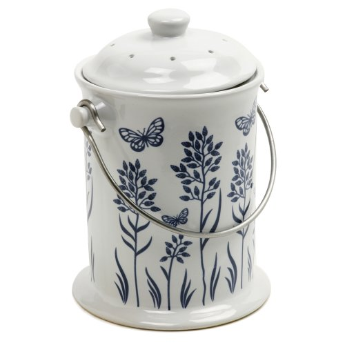 Norpro 83 Ceramic Floral Blue/White Compost Keeper, 3-Quart ()