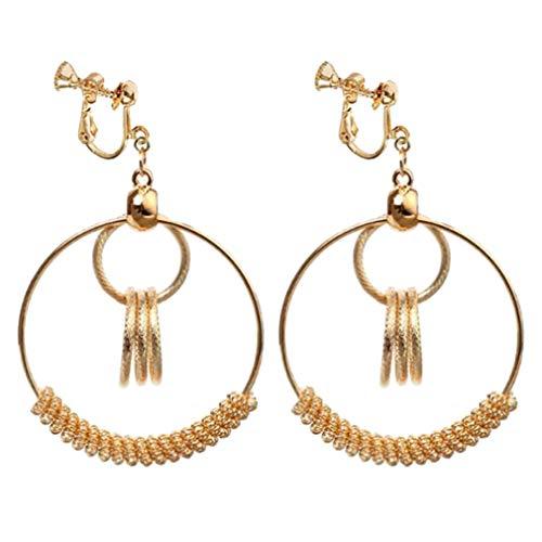 - Clip on Earrings Triple Round Link Drop Earrings Gold Plated Circle Link Drop Earrings