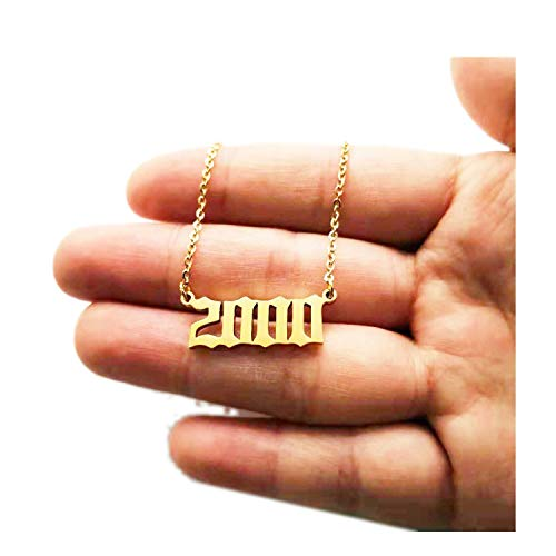 Personalized Year Number Necklaces for Women Custom Year 1994 1995 1996 1997 1998 1999 2000 Birthday Gift from 1980 to 2019,Gold Color,1985