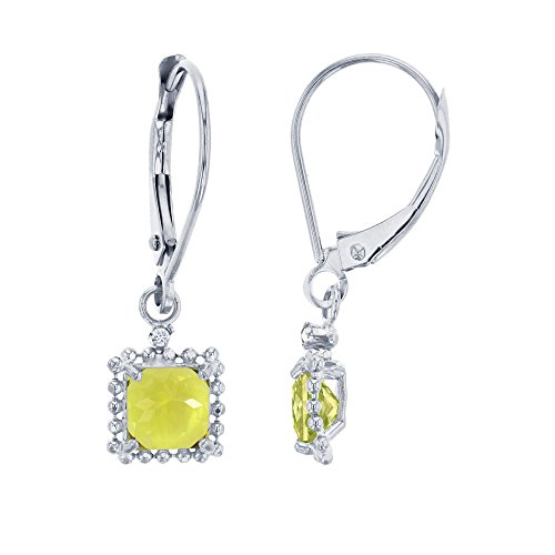 14K White Gold 1.25mm Round Created White Sapphire & 5mm Square Lemon Quartz Bead Frame Drop Leverback Earring