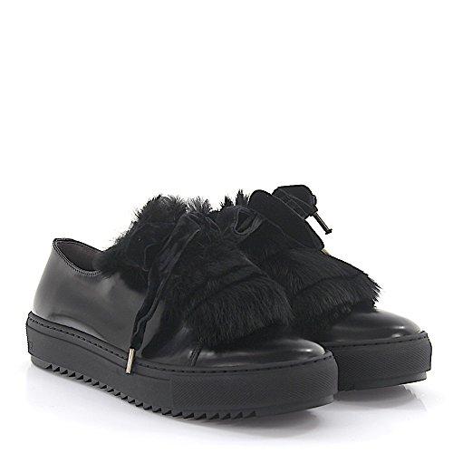 Agl Til Attilio Giusti Leombruni Sneaker D930006 Læder Sort Kaninpels Samtschnürsenkel XEOuP