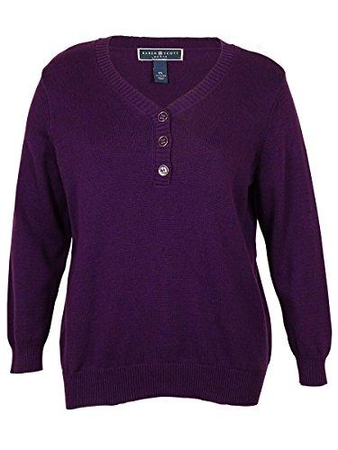 Karen Scott Womens V-Neck Button Detailed Sweater (Purple Pizaaz, 1X) from Karen Scott