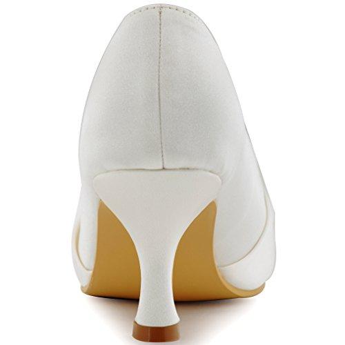 Medio Sposa Avorio Chiusa Strass Tacco Sera Volant Punta Partito Pompe HC1526 Donna Ballo Raso ElegantPark zqwt6HXq