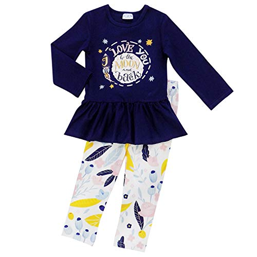 So Sydney Toddler Girls 2 Pc Valentine's Day Love Heart Print Ruffle Outfit (M (4T(, Moon & Back Navy)