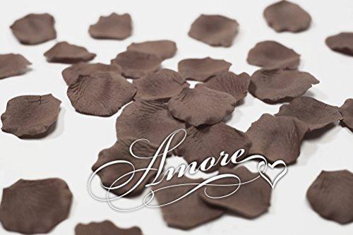 200 Wedding Silk Rose Petals Mocha Brown-Chocolate-Cocoa 2 inch Wide