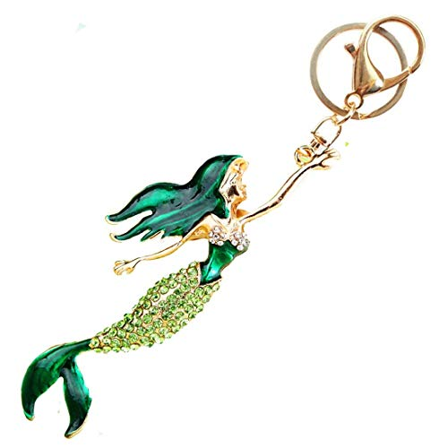Pretty Mermaid Sparkling Charm Blingbling Keychain Crystal Rhinestone Pendant (Green)