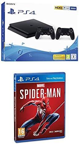Playstation 4 (PS4) - Consola 500 Gb + 2 Mandos Dual Shock 4 (Edición Exclusiva Amazon) - nuevo chasis F + Marvels Spiderman: Amazon.es: Videojuegos