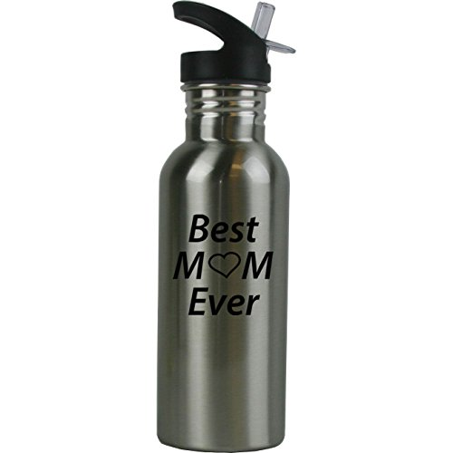 Personalized Custom Best Mom Ever Stainless Steel Water Bottle with Straw Top 20 Ounce Sport Water Bottle Customizable