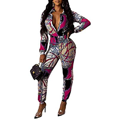 SheKiss Women's Sexy Deep V Neck Long Sleeves Zipper Jumpsuits High Waist Bodycon Leg Pants: Clothing
