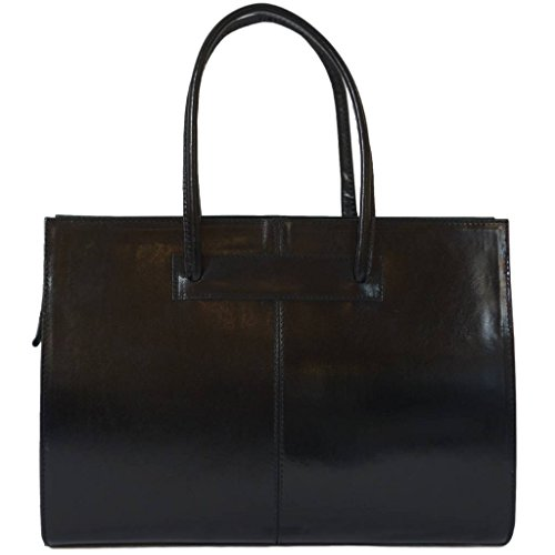 (Womens Leather Business Bag / Womens Leather Laptop Bag / Womens Leather Briefcase, Carelli Italia ROMA black TWEE)