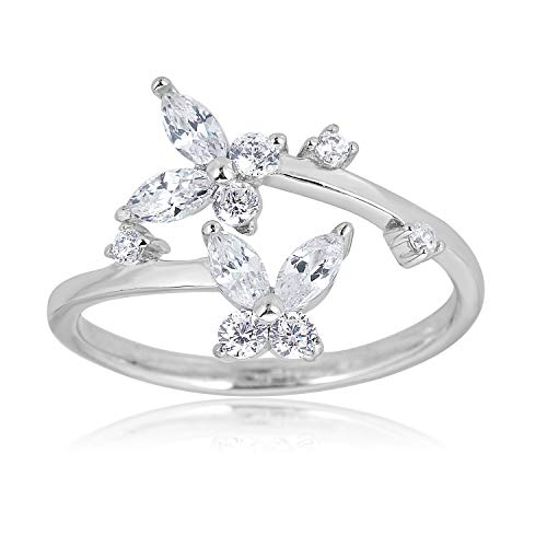 AVORA 925 Sterling Silver Adjustable Butterfly Toe Ring with White Simulated Diamond CZ