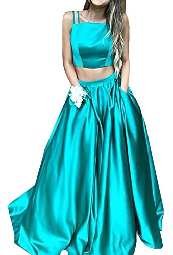 Dislax Spaghetti Pocket Green Long Piece Satin Gowns Dresses Two Prom Evening Strap TYTHxrq