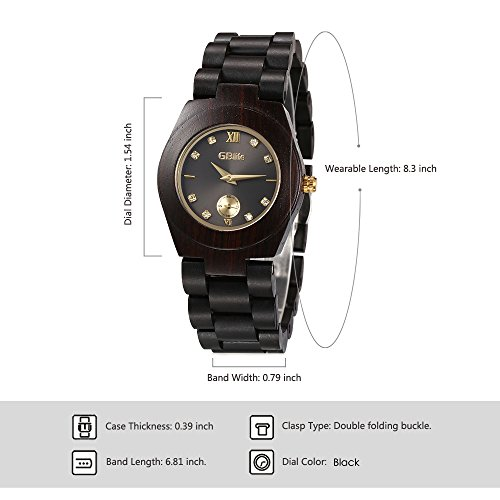 Wooden Watch Women, GBlife Natural Wood Watches with Black Dial Golden Pointers, Adjustable Lightweight Wood Band, Casual Retro Wooden Quartz Wristwatch (Ebonywood) by GBlife (Image #3)