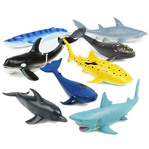 Boley 8 Pc Whale, Shark, & Mammals Figure Toys - Realistic Looking Ocean Creatures - Sea Creatures Great for Party Favors, Bath Time, & -