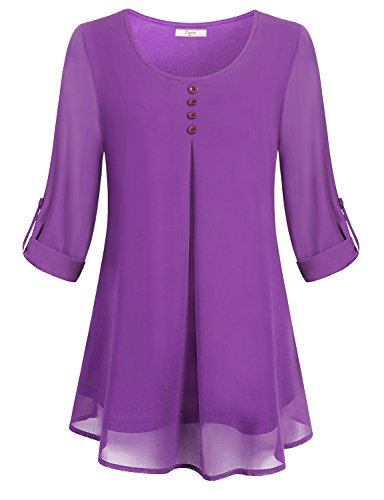Cestyle Long Sleeve Tunic Tops for Leggings for Women, Ladies Flare Shirt Swing Chiffon Overlay Rolled 3/4 Tshirt A Line Round Neck Gradient Daily Wear Casual Loose Blouses for Office Purple L