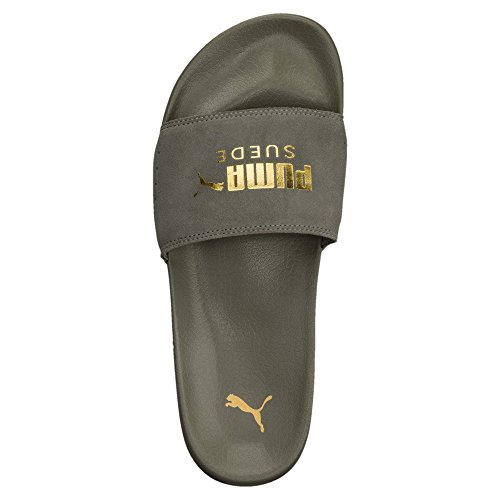 PUMA Men's Suede Leadcat Sport Sandals (13 D(M) US, Castor Gray Team Gold)