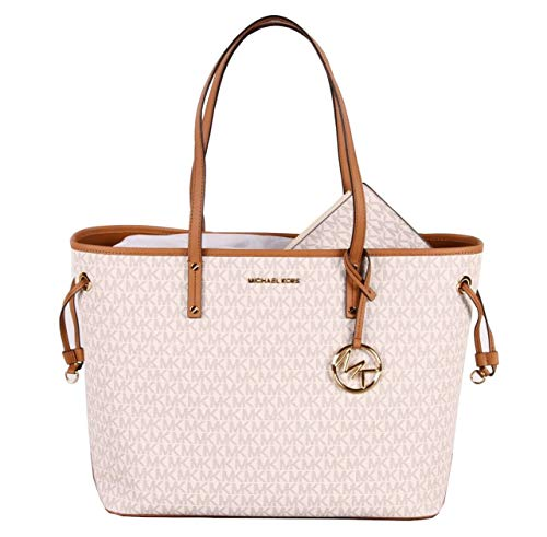MICHAEL Michael Kors Jet Set Travel Large Tote MK Signature with Pouch - Vanilla