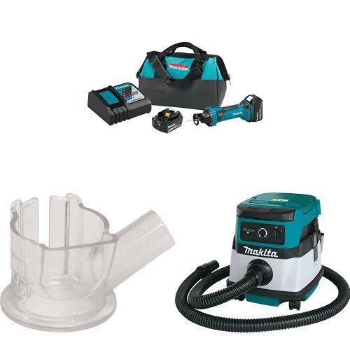 Makita XOC01T 18V LXT Lithium-Ion Cordless Cut-Out Tool Kit (5.0Ah) with Makita 193449-2 Dust Extracting Cut-Out Base with Makita XCV04Z 18V X2 LXT Lithium-Ion Cordless/Corded Dry Vacuum, 2.1 gallon by Makita