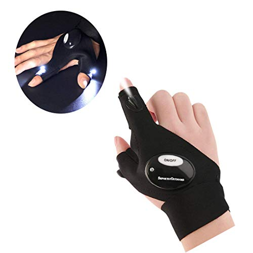 MRCtech Led Flashlight Gloves, Magic Strap Fingerless Gloves,Great for Outdoor Camping, Fishing, Running and Working in Darkness