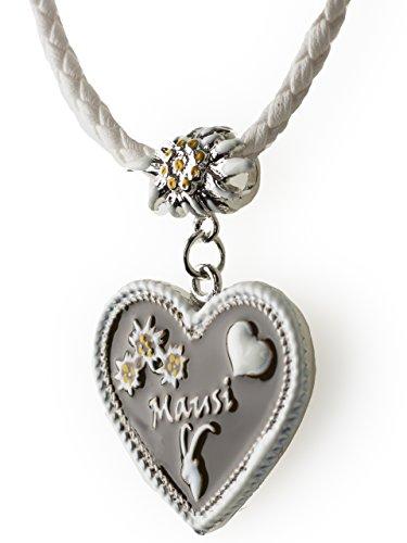 Trachtenkette Mausi bemaltes Herz mit Edelwess Kette rot oder blau - Trachtenschmuck Dirndl Lederhose (Weiss)