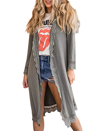 LEANI Women's Lace Trim Open Front Long Sleeve Casual Loose Lightweight Maxi Cardigans Cover up with Pockets Grey (Sleeve Coat Lace Long)
