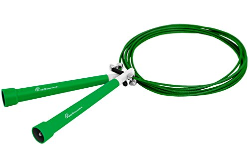 ProSource Speed Cable Jump Rope, Super Fast, 10' feet Fully Adjustable, Green -