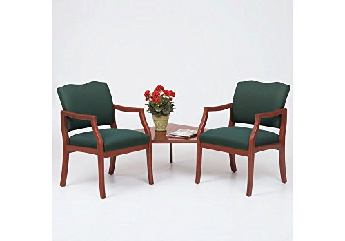 """Traditional Style Two Seater with Corner Table Dimensions: 57""""W x 57""""D x 34""""H Shale Fabric/Cherry Finish"""