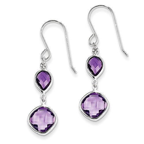 Sterling Silver Rhodium Plated Diamond Amethyst Earrings by CoutureJewelers