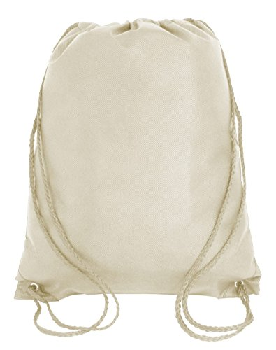 Drawstring Tote Backpack Non-Woven Cinch Sack Bag Swim Camp Party Favor 25 Pack (Natural) by ToteBagFactory
