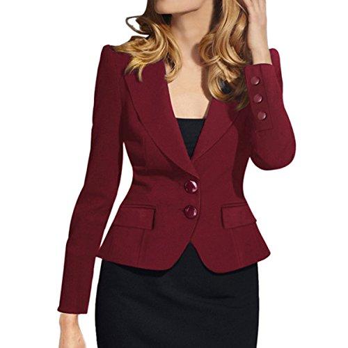 m Fit Blazer Lapel Collar Two Button Slim Short Cotton Blazer, Wine Red, TagsizeXXXXL=USsize18 ()