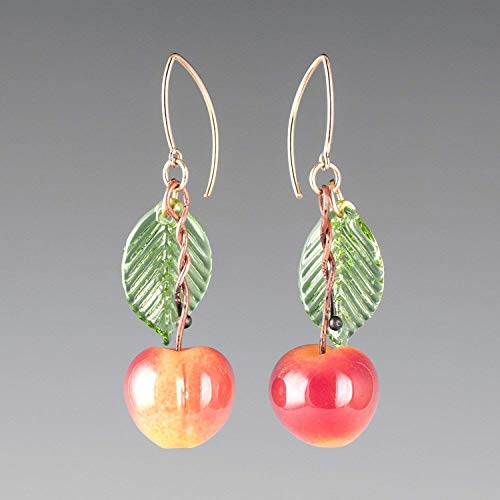(Glass Yellow Cherry Earrings with Light Green Glass Leaves on Gold Filled Marquise Wires)