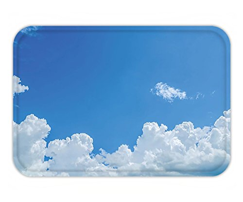 Minicoso Doormat Apartment Decor Collection Cloud Frame Skylight To Clear Sky Sunny Day Decorative Nature Picture Scene White - Frame Angeles Los Sky
