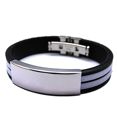 Ameesi Men's Fashion Casual Stainless Steel Rubber ID Bracelet Bangle Jewelry Gift - White