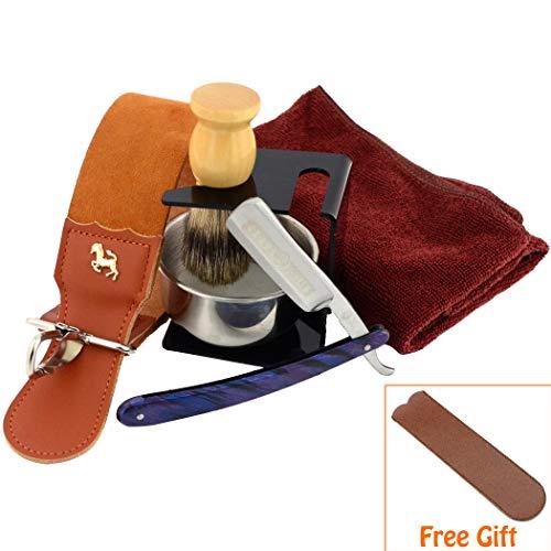 (7 Piece Luxury Men Shaving Kit ~ Straight Edge Razor, Leather Canvas Strop, Barber Brush, Razor Stand, Shaving Mug Bowl/Soap/Towel)