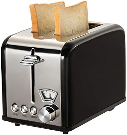 Retro Small Toaster with Bagel, Cancel, Defrost Function, Extra Wide Slot Compact Stainless Steel Toasters for Bread Waffles 2 Slice, Black