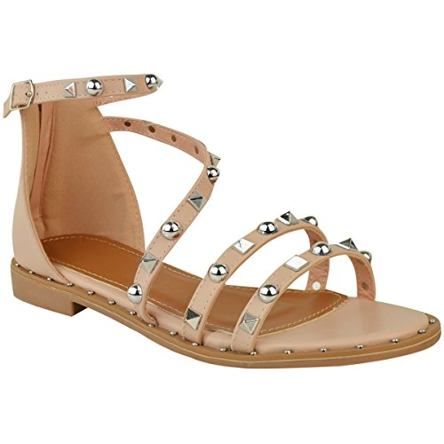 Ladies Womens Flat Heel Studded Ankle Strappy Summer Holiday Beach Sandals Size Nude / Pink Faux Leather