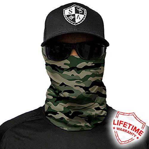 Salt Armour Face Mask Shield Protective Balaclava Bandana MicroFiber Tube Neck Warmer Green Camo Military by SA Company