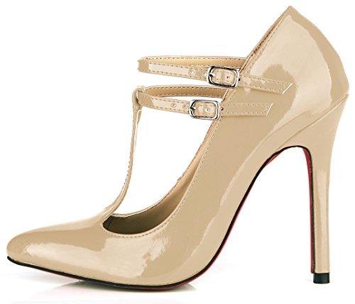 Temperamento Heel Nude Zapatos Shoes Y Alta Discotecas Rojo Barnizado El Pearl Negro De Nuevo Muelle Cuero Color La Mujer aawn6SqFt