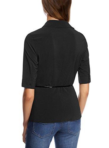 oodji Ultra Mujer Blusa Ajustada con Cinturón Negro (2900N)