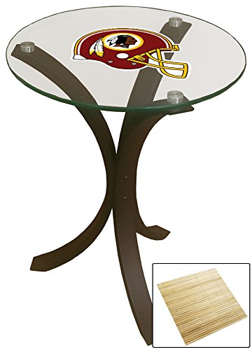 NEW! Contemporary Espresso Wood with a Glass Top Accent Table Featuring Your Favorite Football Team Logo Decal and a FREE Drink Coaster!(Redskins Helmet) (Top Glass Football Table)