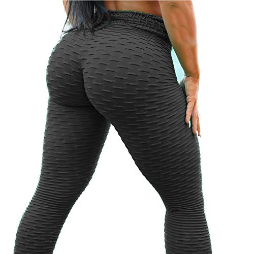 JBENG Women's High Waist Yoga Pants Tummy Control Booty Stretchy Leggings Workout Squat Proof Butt Lift Tights L