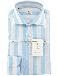 New Luigi Borrelli Light Blue Striped Extra Slim Shirt
