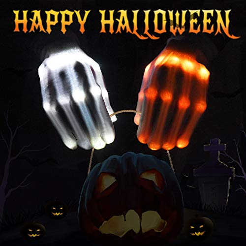VAZILLIO Flashing LED Skeleton Gloves Light up Glowing Finger Toys, Horrific Halloween Costume for Boys/Girls/Tween/Teens, Novelty Gift for Kids, Cool Décor for Party/Camping/Biking/EDM/Light Show, ()