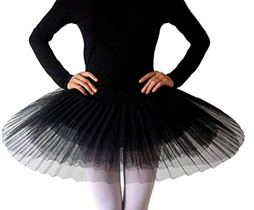 WENDYWU Women Professional Swan Ballet Tutu Dress Hard Organdy Platter Performance Leotard Skirt (L, Black) (Flowers Organdy)
