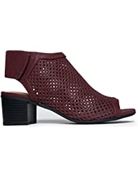 Cut Out Velcro Strap Bootie - Slip On Low Stacked Heel - Open Peep Toe Cutout Shoe Maddie by