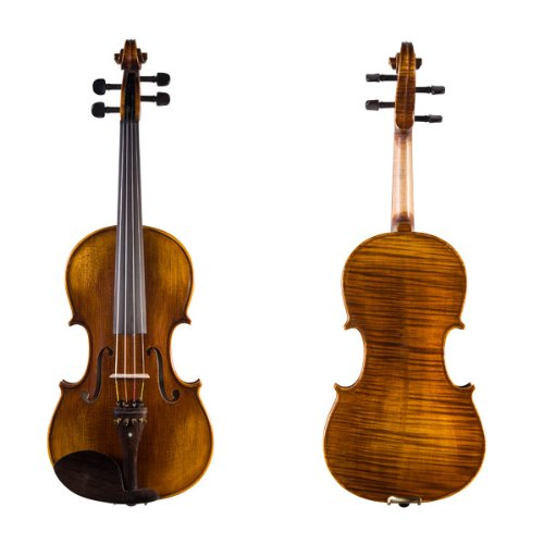 Cecilio 16 Inch Hand Oil Rubbed Highly Flamed 2-Piece Back Solidwood Viola, CVA-600 by Cecilio