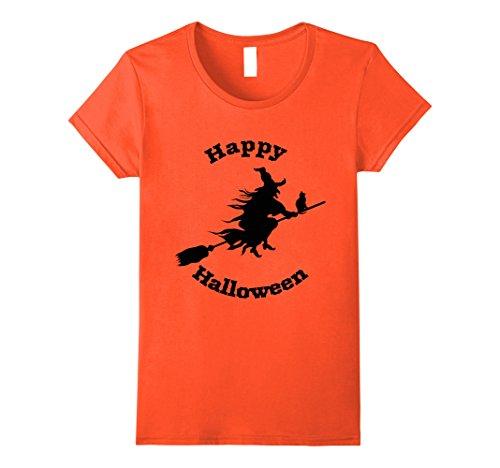 Womens Happy Halloween with Witch T-Shirt Medium Orange