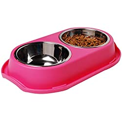 "PetLike Fashion Dog Bowls Stainless Steel Double Rounder Pet Bowl Set for Cats and Dogs, Keep Your Floors Clean with the Best Pet Dish for any Pet Food, 3 Colors Available (11.8""x7""x1.57"", Pink)"