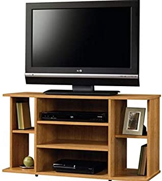 for TVs up to 42 in Abbey Oak Finish Pemberly Row Entertainment Media TV Stand Console Wood with Storage Shelving